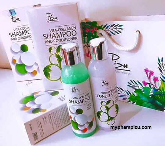 Bộ đôi Dầu gội collagen, Dầu xả collagen Pizu - Vita Collagen Shampoo and Conditioner